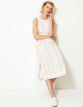 Krem Keten Çizgili Midi Elbise