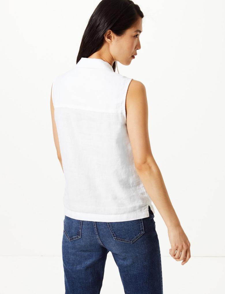 Beyaz Saf Keten Düğme Detaylı Gömlek
