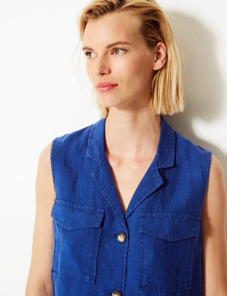 Kadın Mavi Saf Keten Düğme Detaylı Gömlek
