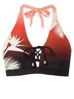 Desenli Plunge Bikini Üstü