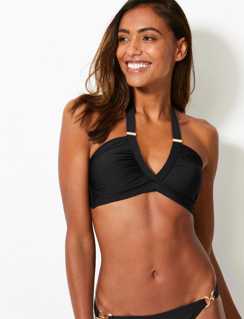 Kadın Siyah Balensiz Plunge Bikini Üstü