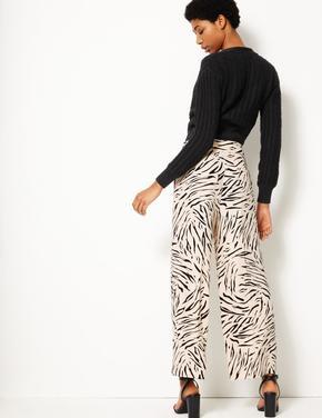 Kadın Siyah Yüksek Bel Wide Leg Grazer Pantolon