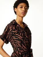 Keten Karışımlı Desenli Midi Gömlek Elbise