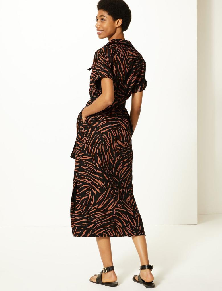 Siyah Keten Karışımlı Desenli Midi Gömlek Elbise