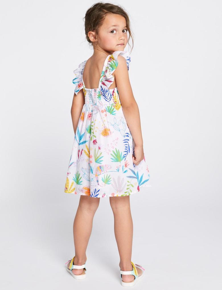 Kız Çocuk Multi Renk Saf Pamuklu Desenli Elbise