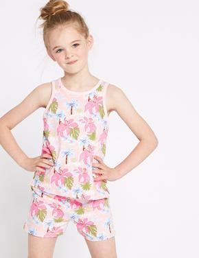 2'li Saf Pamuklu Şort Pijama Takımı