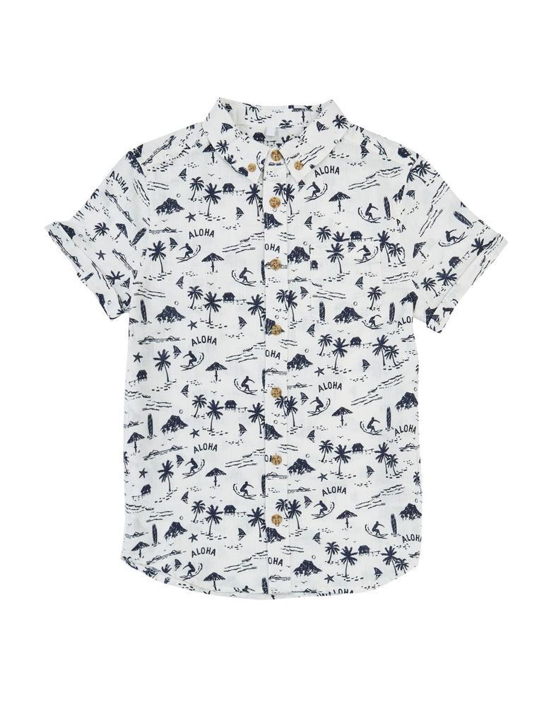 Beyaz Baskılı Gömlek