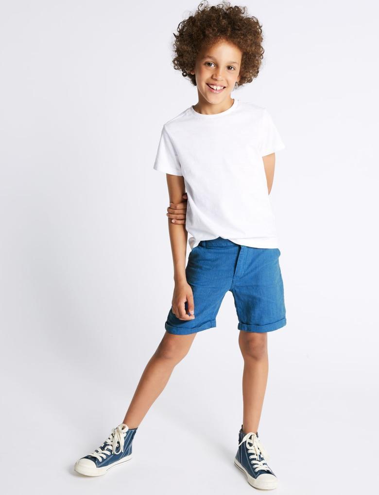 Erkek Çocuk Mavi Baskılı Şort