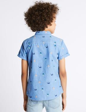 Mavi İşlemeli Saf Pamuklu Gömlek