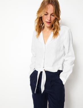 Kadın Beyaz Saf Keten Önü Bağcıklı Gömlek
