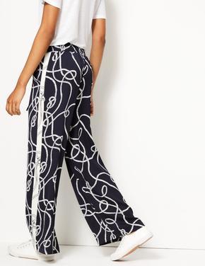 Desenli Wide Leg Pantolon
