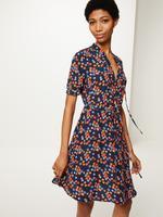 Lacivert Çiçek Desenli Elbise