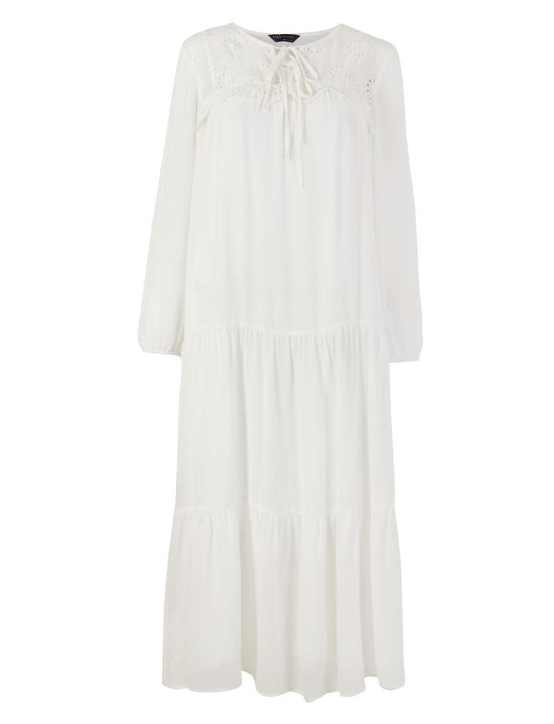 İşlemeli Robalı Midi Elbise