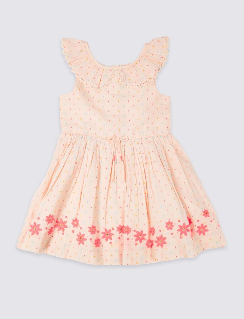 İşlemeli Kolsuz Elbise