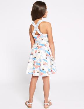 Saf Pamuklu Desenli Elbise