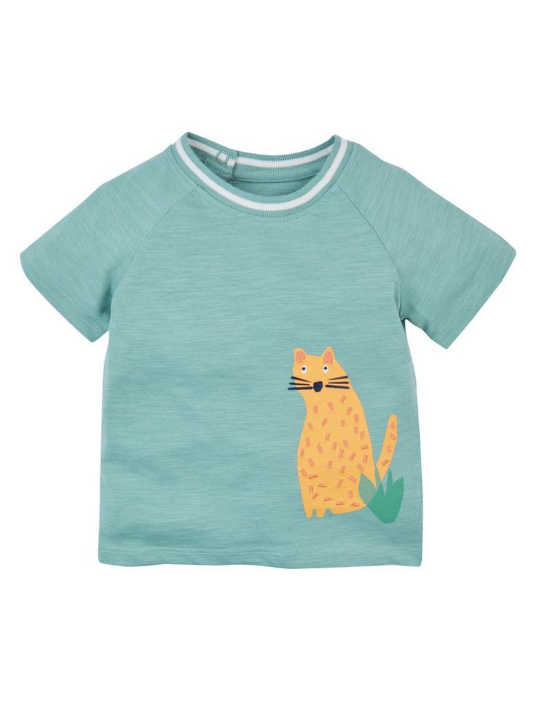 Saf Pamuklu Çita Baskılı T-shirt