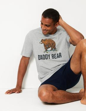 Daddy Bear Baskılı Şortlu Pijama Takımı