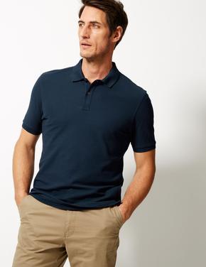 Lacivert Saf Pamuklu Polo Yaka T-shirt
