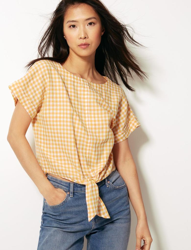 Kadın Sarı Keten Karışımlı Önden Bağlamalı Kareli Bluz