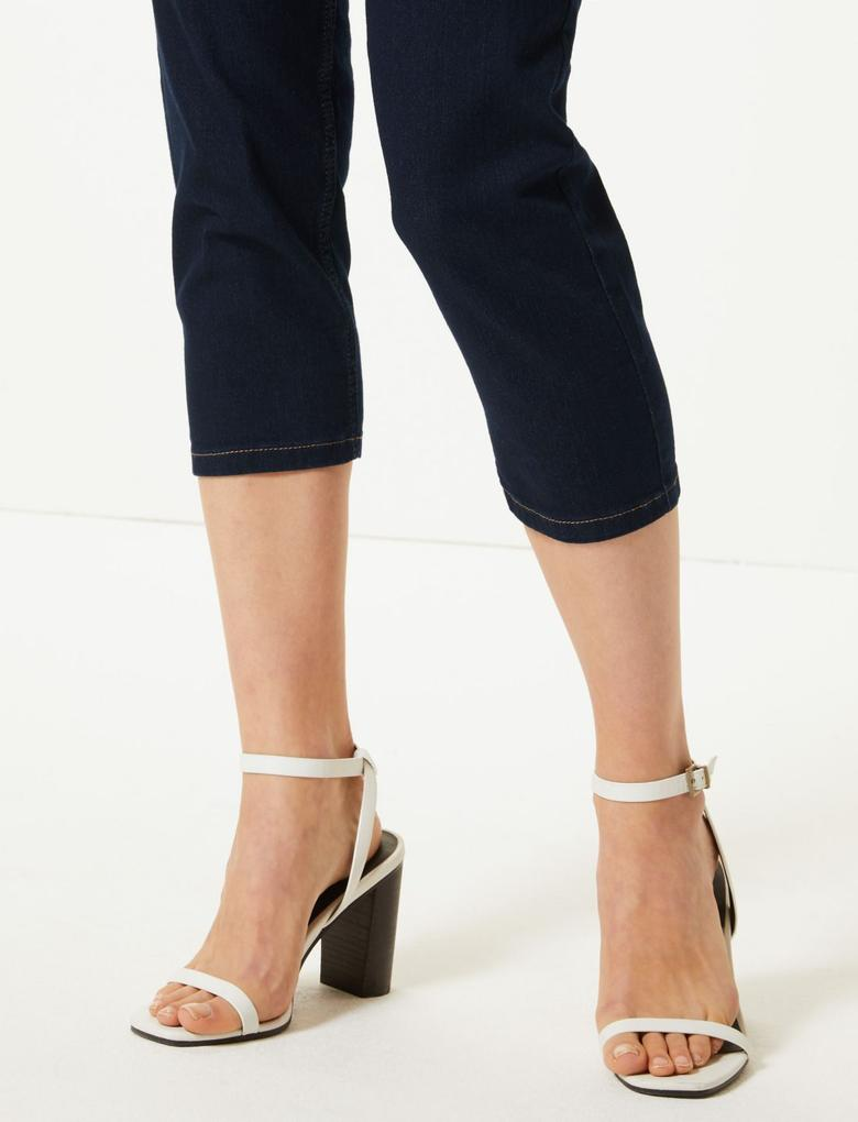Lacivert Straight Paça Kısa Jean