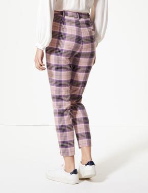 Kareli Slim Kısa Pantolon