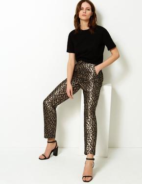 Leopar Desenli Straight Paça Pantolon