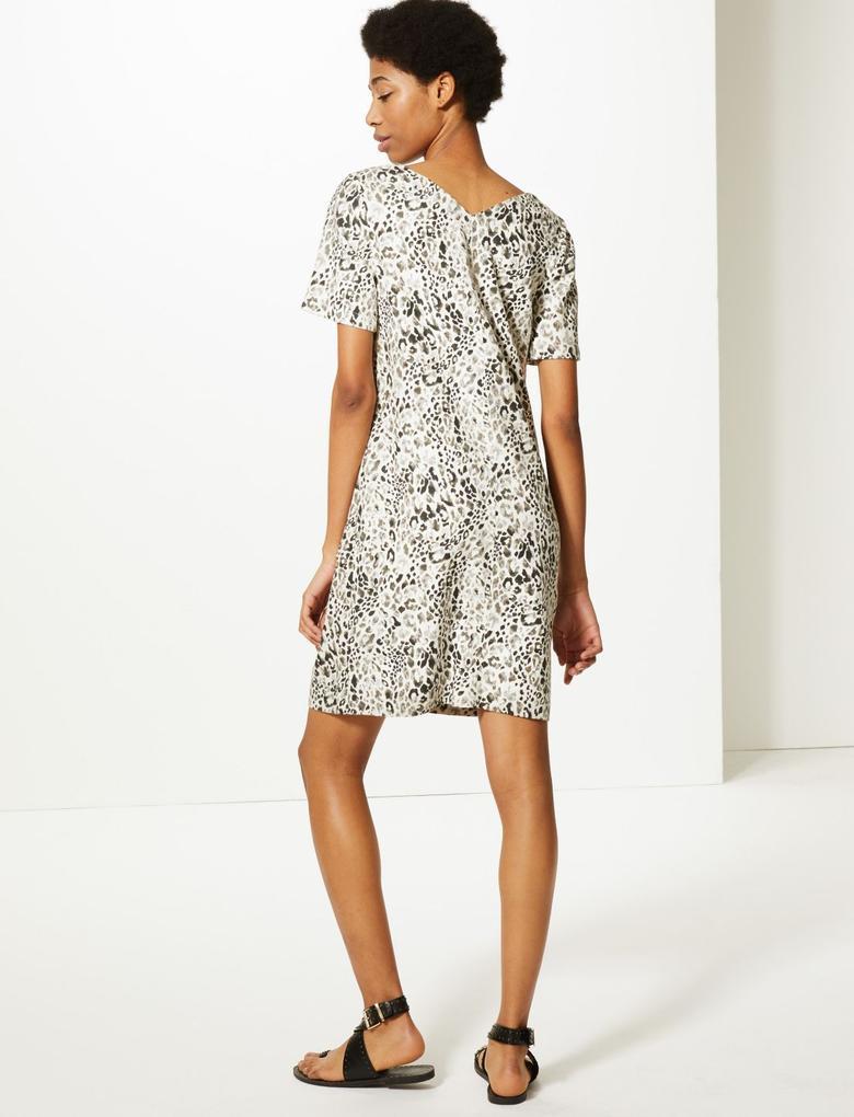Kadın Multi Renk Keten Karışımlı Desenli Shift Elbise