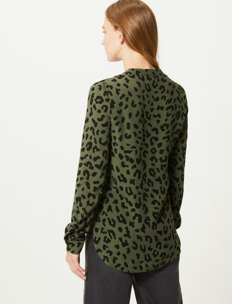 Leopar Desenli V Yaka Uzun Kollu Bluz