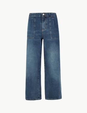 Wide Leg Cropped Jean Pantolon