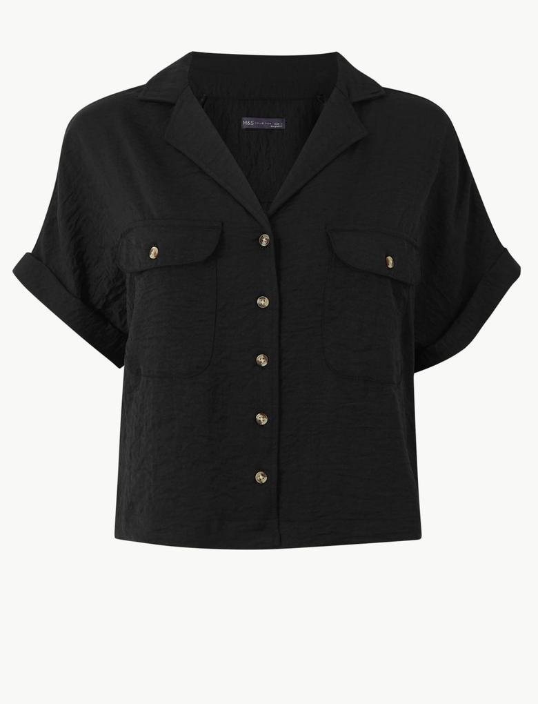 Siyah Önleri Cepli Kısa Kollu Gömlek