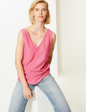 Kadın Pembe V Yaka Kolsuz Bluz