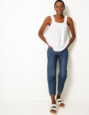 Kadın Beyaz Saf Pamuklu Kalın Askılı Bluz