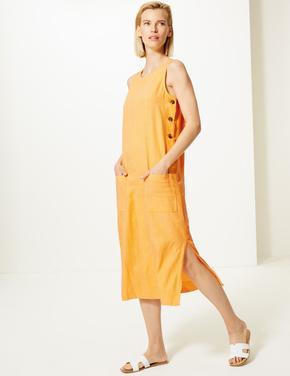 Keten  Karışımlı Midi Elbise