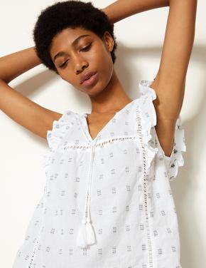 Kadın Beyaz Saf Pamuklu İşlemeli Bluz