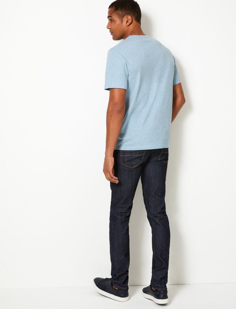 Erkek Mavi Saf Pamuklu Baskılı T-shirt