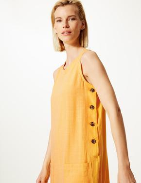 Kadın Sarı Keten  Karışımlı Midi Elbise