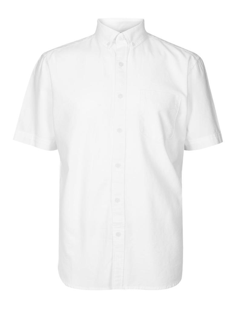Erkek Beyaz Saf Pamuklu Oxford Cepli Gömlek