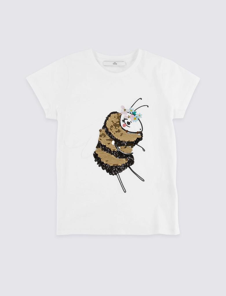 Kız Çocuk Beyaz Saf Pamuklu İşlemeli T-shirt
