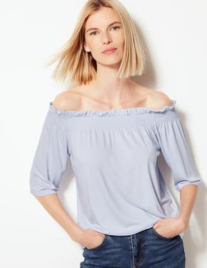 Kadın Mavi Omuzları Açık Bluz