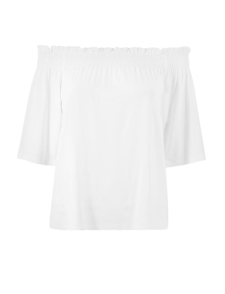 Beyaz Omuzları Açık Bluz