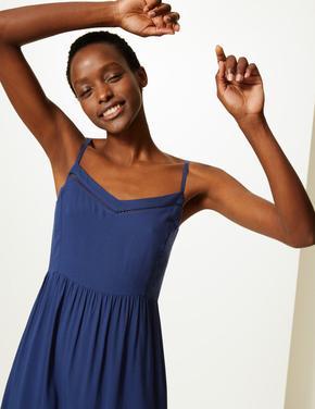 Kadın Lacivert Midi Slip Elbise
