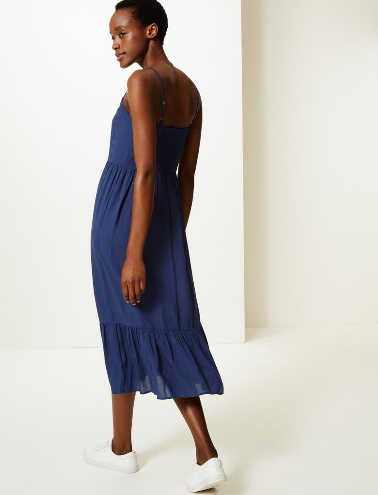 Lacivert Midi Slip Elbise