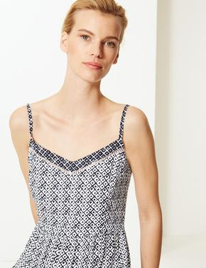 Kadın Lacivert Askılı Midi Elbise
