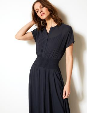 Beli Büzgülü Midi Elbise