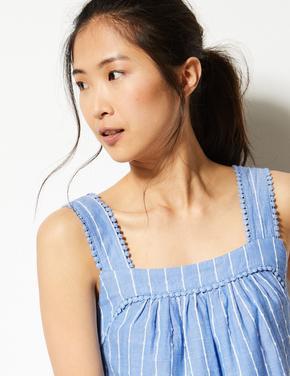 Kadın Mavi Saf Pamuklu Askılı Bluz