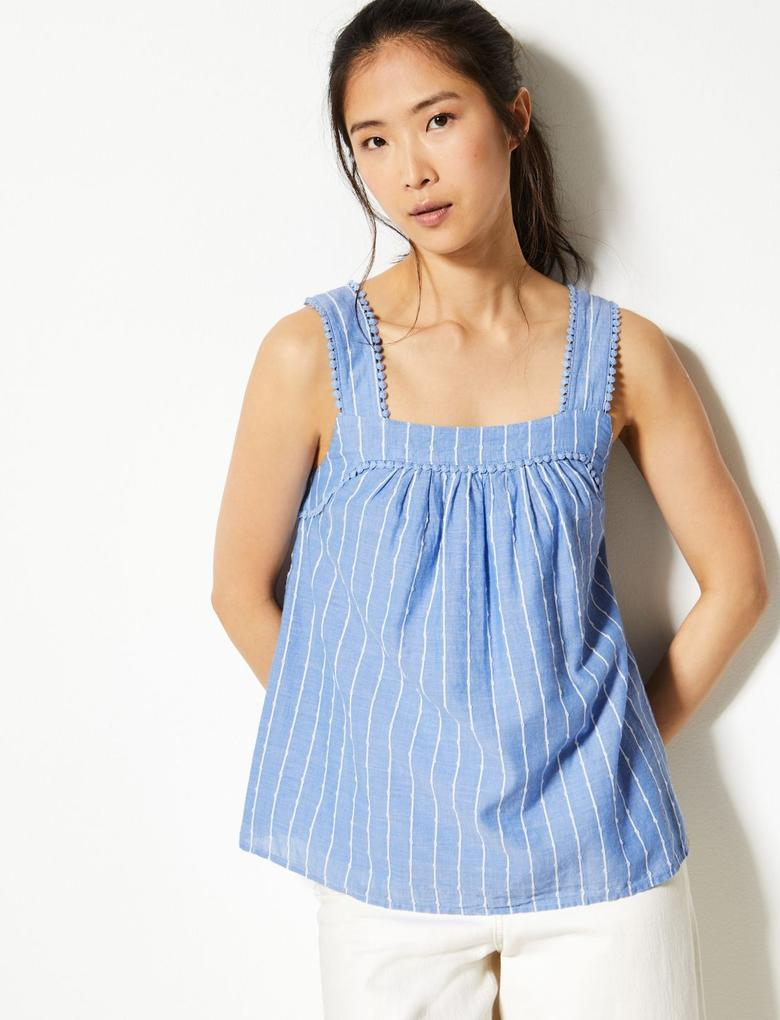 Mavi Saf Pamuklu Askılı Bluz