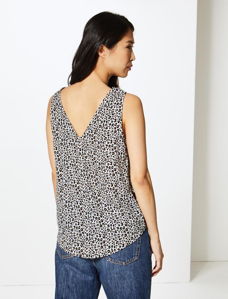 Desenli Askılı Bluz