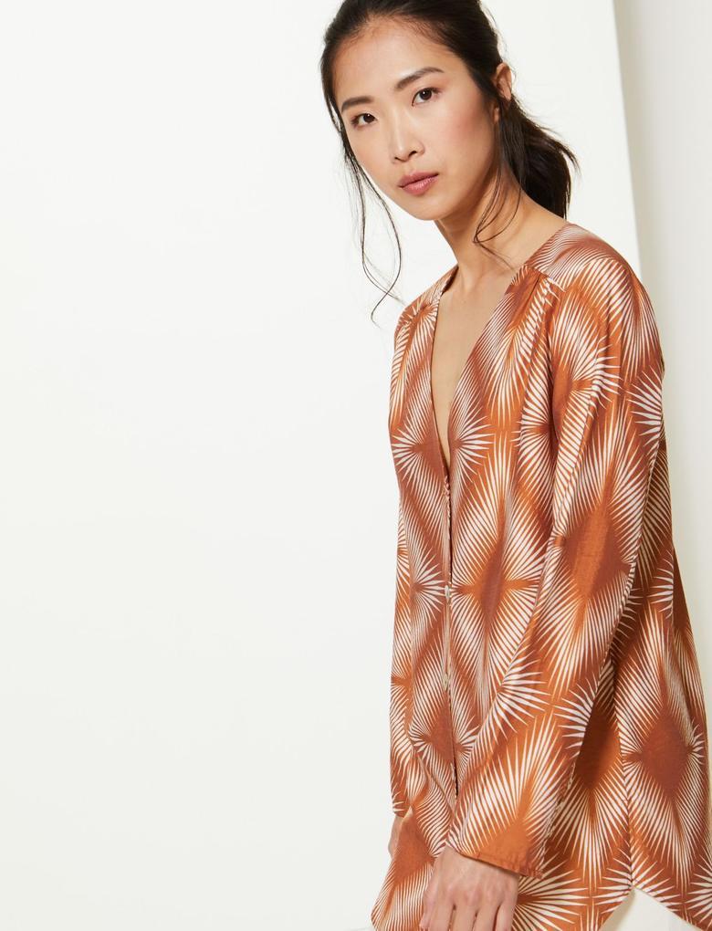 Kadın Bej Desenli Düğme Detaylı Tunik