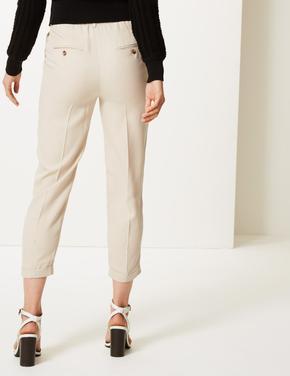 Kadın Gri Pileli Tapered Leg Pantolon
