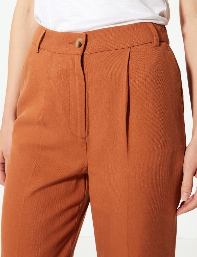 Kahverengi Pileli Tapered Leg Pantolon